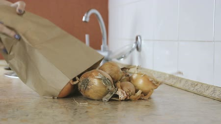 шелуха : Onion is poured from a paper bag on the kitchen table.