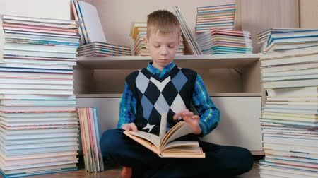 biblioteca : Seven-year-old boy attentively reads the book sitting among books.