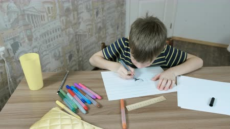 ipuçları : Boy of 7 years is painting his paint with blue felt pen in striped paper sitting by the table. Stok Video