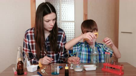 diligence : Experiments on chemistry at home. Mother and son do a science experiment together. Stock Footage