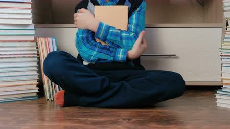 alfabetização : Unrecognizable seven-year-old boy sitting among books. Vídeos
