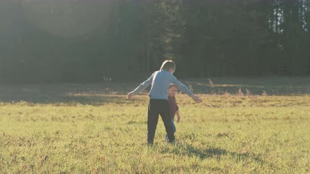 talk show : Sister and brother walking together and playing on the meadow near the forest. Stock Footage