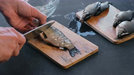 tail fin : Man cleans carp from the scales on wooden board. Close-up hands. Cooking a fish.