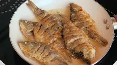 olivy : Small carps fish fried in oil in a pan.