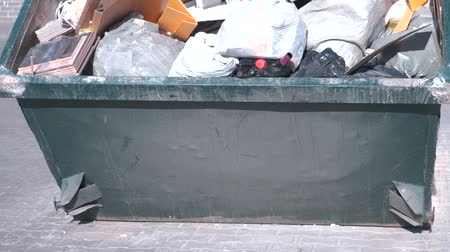crumpled : Full container with garbage close-up. Stock Footage