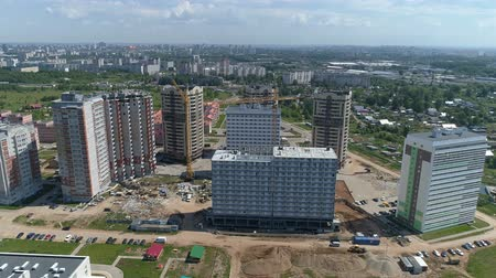 townhouse : Aerial shot of the city. Multi-storey buildings, roads. Stock Footage