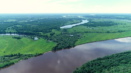 водный путь : Beautiful natural scenery of river and green forest aerial view.