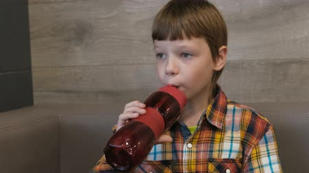 sports nutrition : Boy drinks water from a sports bottle in cafe. Stock Footage