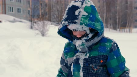 Boy throws snow and makes snowfall, playing in the snow in winter.