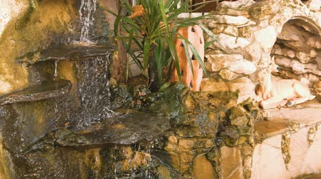 landscaping rocks : Decorative small waterfall at the fountain.