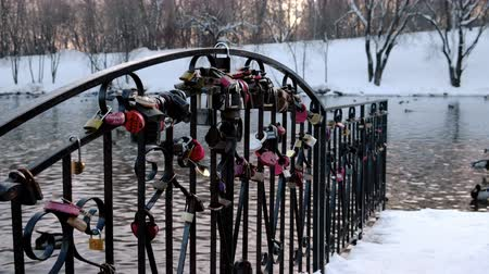 loajální : Castles or locks of the newlyweds on the bridge over the pond in the Park.