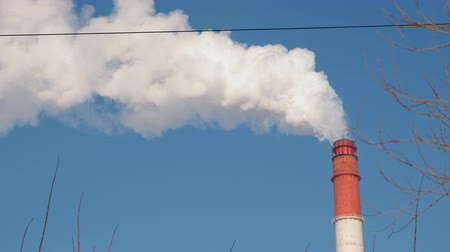 보일러 : One red and white pipe of thermal power station with smoke in sky and tree background.