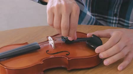 instrument maker : Close-up hands of young man in plaid shirt is repairing a violin sitting at the table. Unscrews the bolts