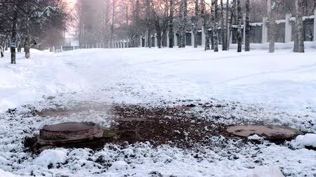 yol kenarı : Steam is from sanitary sewer cover in snow in winter park. Melted snow around. Stok Video