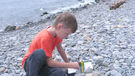 marker pen : Boy is painting draws with markers while sitting on a stone beach on the shore of the sea. Stock Footage