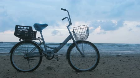 пригородный : Old bicycle on the beach at sunset with storm sea and foam waves background. Side view. Стоковые видеозаписи