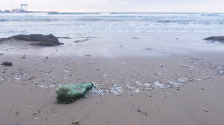 harmful : Plastic green bottle and seaweeds on the sand beach at seaside. Stock Footage