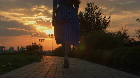 arka görünüm : Girl walking away through green alley at the sunset. Shot on BMCC. You can use it e.g in your video, documentalistic, reporting, presentation, music video, commercial video. Stok Video
