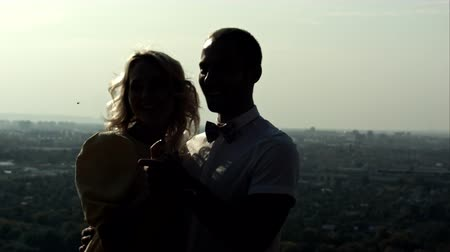 zakochani : silhouette of two lovers. Shot on BMCC RAW with high dynamic range. You can use it e.g in your video, documentalistic, reporting, family, music video, commercial video.