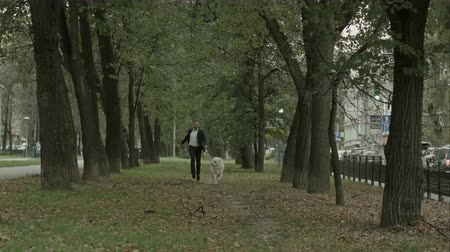 abandonment : businessman runing with big white dog