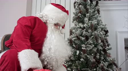 mikulás : Santa Claus opening his sack and putting presents under the Christmas tree