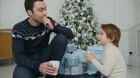 мишура : Happy dad and son with cups of tea talking near Christmas tree at home Стоковые видеозаписи