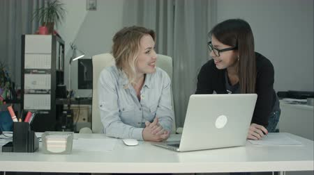 flowchart : Two female colleagues discussing new project idea using laptop Stock Footage