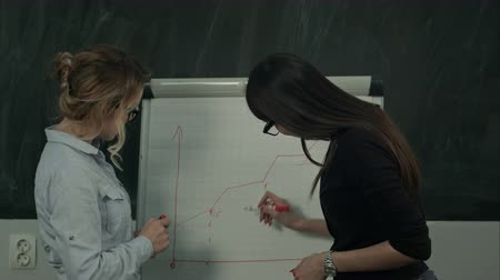 flip chart : Young female business team working on a hand drawn graph on a flip chart