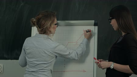 flowchart : Two females standing and presenting graph on flipchart during business meeting Stock Footage