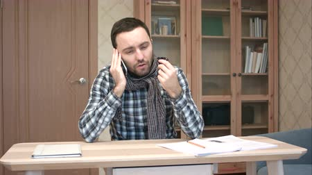 zsebkendő : Sick coughing man in scarf talking on the phone