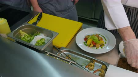 стартер : Cook trainees watching chef adding sauce and spices to fresh salad with shrimps Стоковые видеозаписи