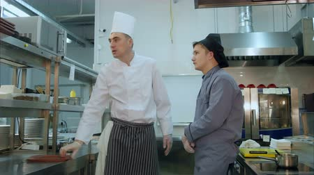 mentor : Head chef showing his new trainee around the kitchen