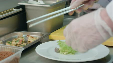 fed : Chefs hands decorating shrimp salad on a white plate Stock Footage