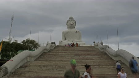 divinity : A lot of turists take photos near monument of Big Buddha in Chalong Phuket Thailand Stock Footage