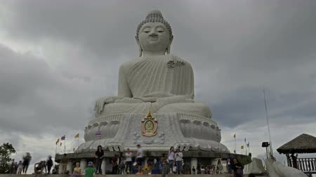budha : White big Buddha in cloudy day in Chalong, Phuket, Thailand Stock Footage