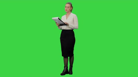 egyetért : Young businesswoman reading documents aprroving the result on a Green Screen, Chroma Key.