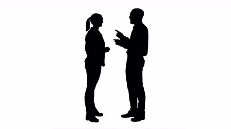 discutir : Silhouette Couple of lovers stand, talk, laugh. Stock Footage