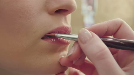 sensuous : Makeup artist uses brush to apply lip gloss to model lips