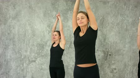 foco no primeiro plano : Healthy ladies exercising to keep their arms in tonus