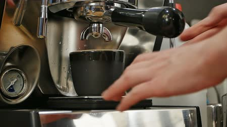 brusič : Female bartender in the workplace, makes coffee using coffee machine