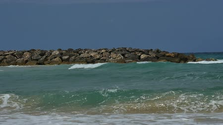 fuerteventura : View of the seaside shore with waves calmly crashing on the sandy beach