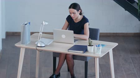 опытный : Attractive business woman use laptop in huge loft studio