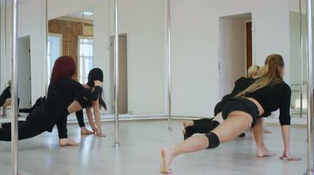 Group of pyoung women in a stretching class Stok Video