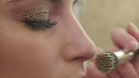 brow : Professional makeup, application of powder on the noce Stock Footage