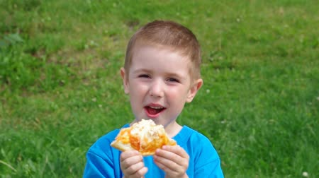 пикник : Picnic on the grass. boy and small girl  have a dinner with pizza on the meadow .