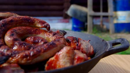 braadkip : barbecue de grill met vlammen Stockvideo