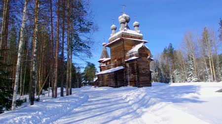ethnographic : Russian Traditional wooden peasant house, Malye Karely village, Arkhangelsk region, Russia Stock Footage