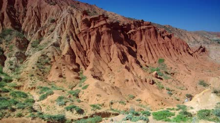 kul : Fairy Tale Canyon, rock formations on the Issyk-Kul lake. Kyrgyzstan.Central Asia Stock Footage