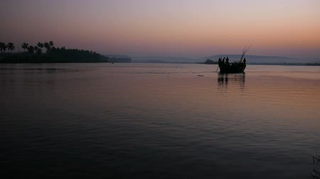 Beautiful view of fisherman boat in sunrise Wideo