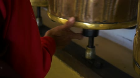 bhutan : Background about buddhism, prayer mills in buddhist monastery